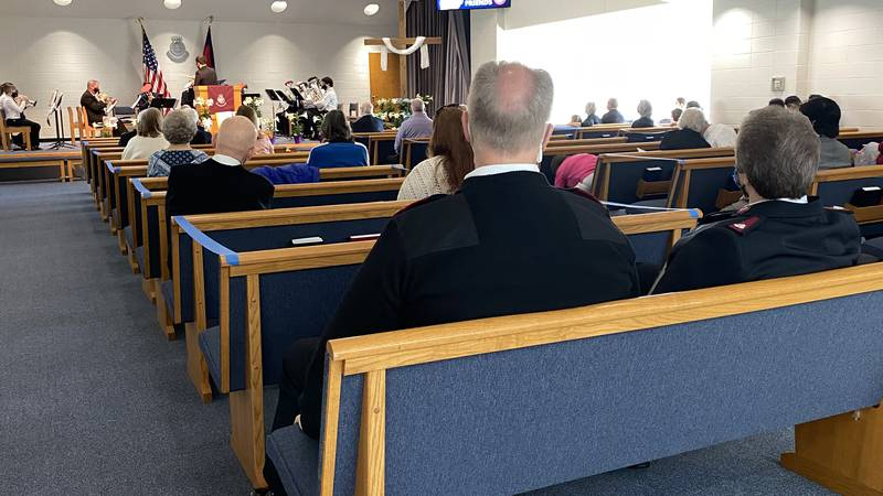 The Salvation Army chapel had limited capacity to allow for social distancing on Easter Sunday.