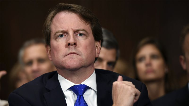 FILE - In this Sept. 27, 2018 file photo, then-White House counsel Don McGahn listens as...