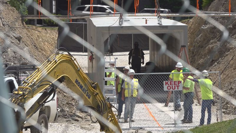 Crews continue to piece together the pedestrian tunnel at Pikeville Medical Center.