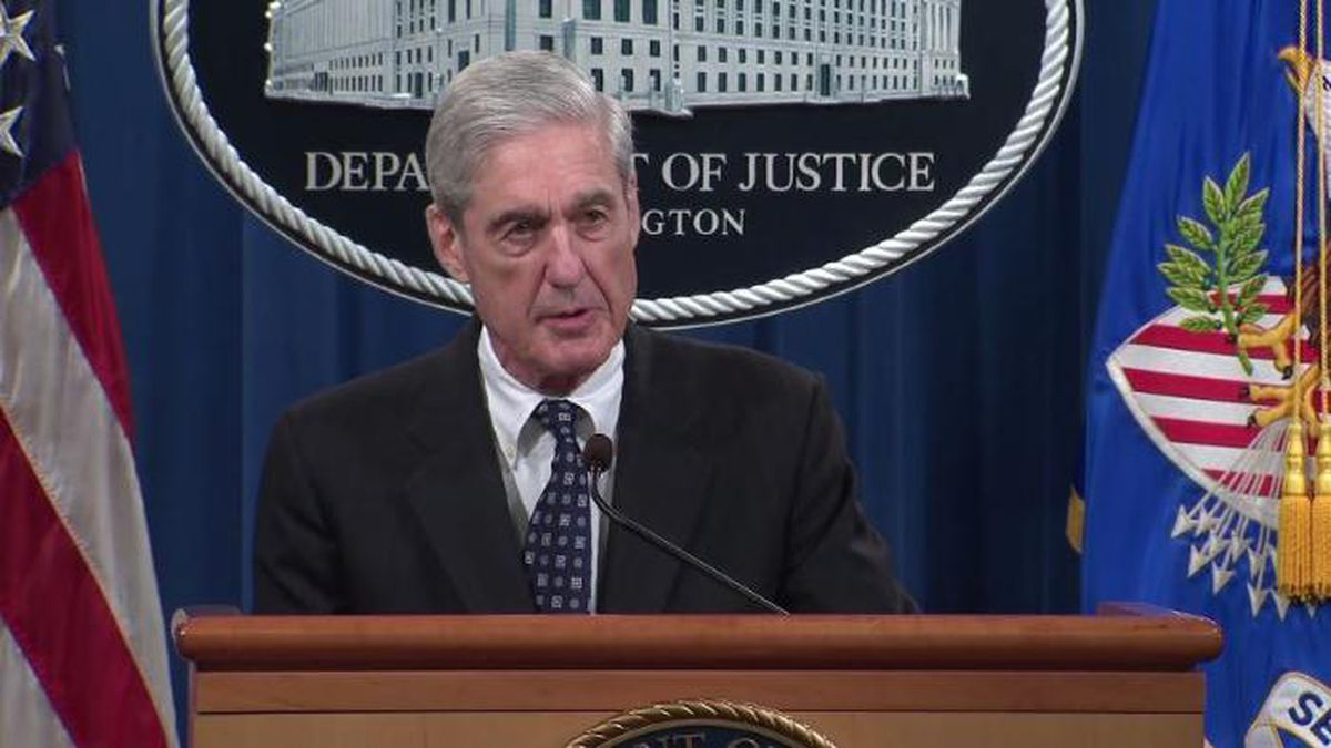"Special counsel Robert Mueller said during his first public remarks on the Russia investigation that charging President Donald Trump with a crime was ""not an option"" because of federal rules. (Source: CNN/POOL)"