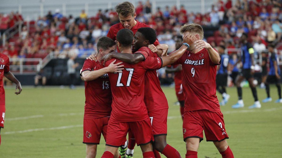 University of Louisville men's soccer celebrates a goal against Kentucky in 2019.
