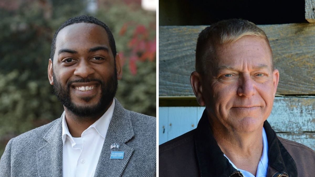 Charles Booker (left) and Mike Broihier (right) are both running to unseat Senator Mitch...