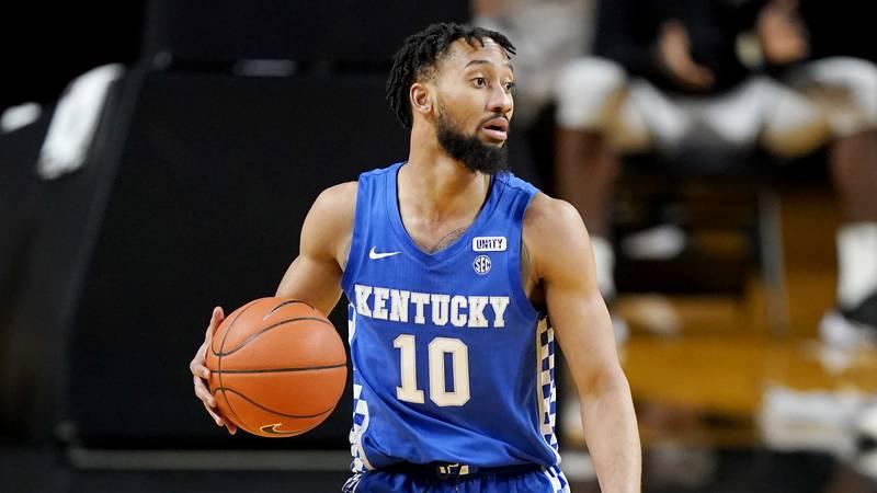 Kentucky guard Davion Mintz (10) plays against Vanderbilt in an NCAA college basketball game...