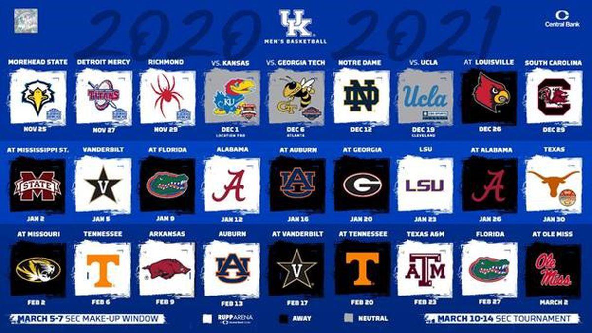 Kentucky men's basketball releases 2020 2021 schedule