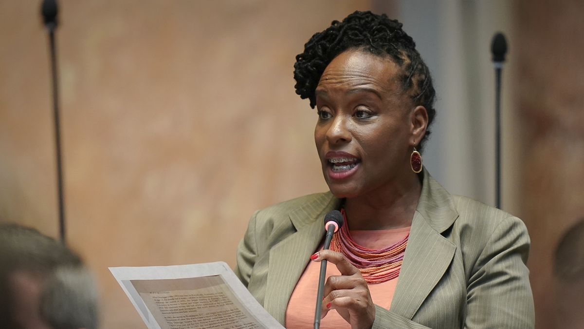 FILE - In this March 2, 2020, file photo, state Rep. Attica Scott, D-Louisville, speaks on the...