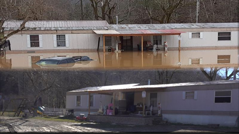 Flood waters destroy house in Oneida
