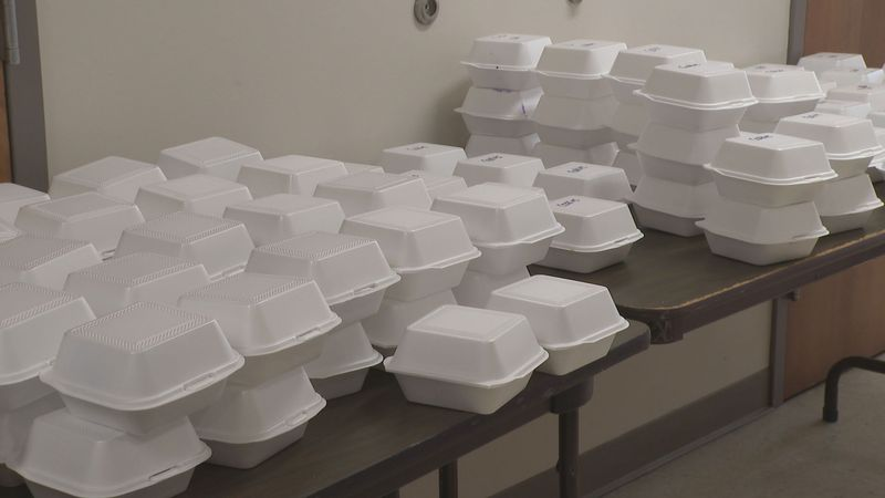 Officials say  nearly 300 meals were given out.