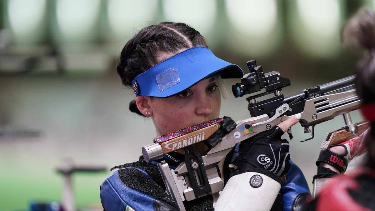 Mary Carolynn Tucker, of the United States, practices at the Asaka Shooting Range ahead of the...