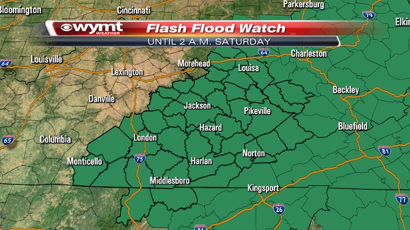 A Flash Flood Watch is out for the entire region until early Saturday morning.