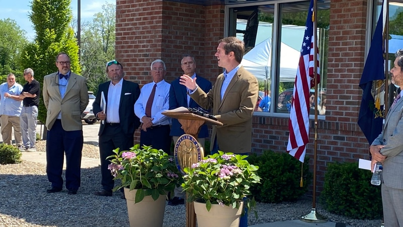 Gov. Andy Beshear speaks following a tour of First Care's new clinic in Mt. Sterling.