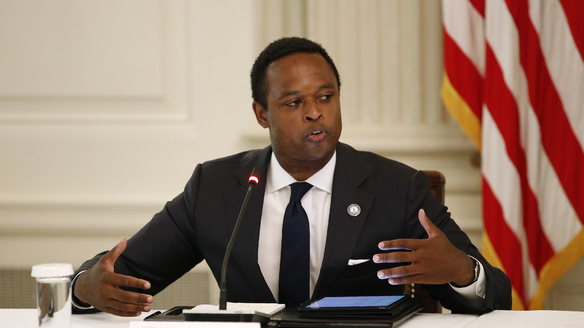 Kentucky Attorney General Daniel Cameron speaks during a roundtable discussion with President...
