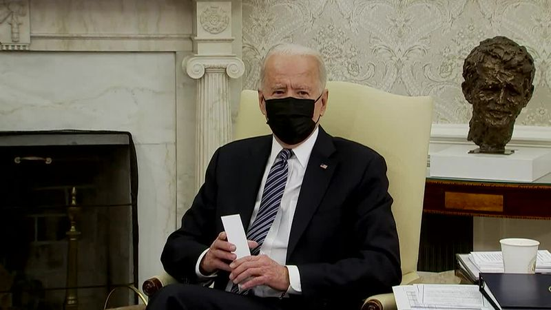 President Joe Biden makes brief remarks before a meeting with top Republican and Democratic...