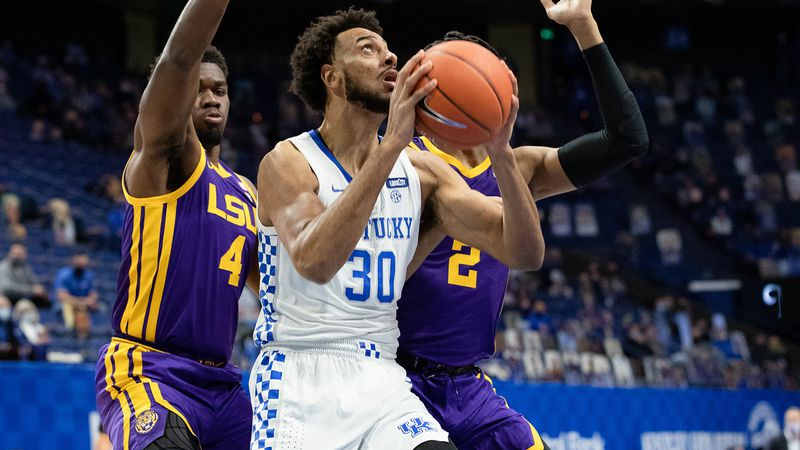 Olivier Sarr goes up for a shot against LSU. The big man declared for the 2021 NBA Draft.
