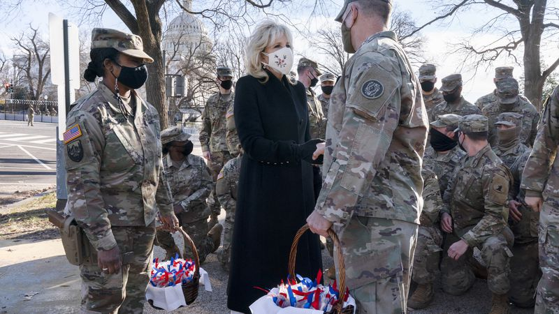 "Saying, ""The Biden's are a National Guard family,"" first lady Jill Biden greets members of the..."