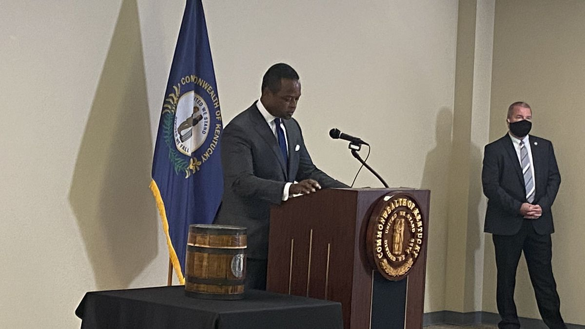 Attorney General Daniel Cameron held a press conference to discuss primary election audits. (Photo Credit: WKYT)
