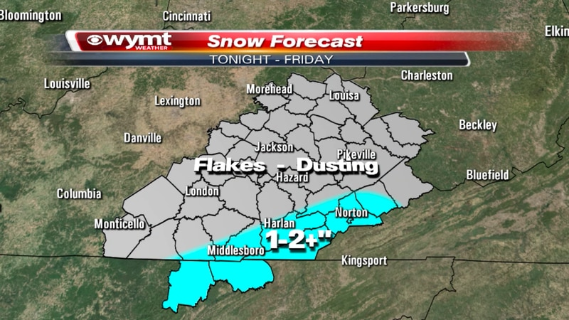 Areas along the KY/VA/TN border have the best chance of seeing accumulating snowfall.