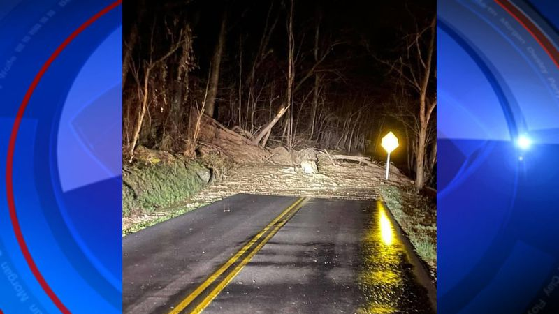 Crews are working to clear a massive mudslide on Davis Branch Road in Johnson County.   Photo...