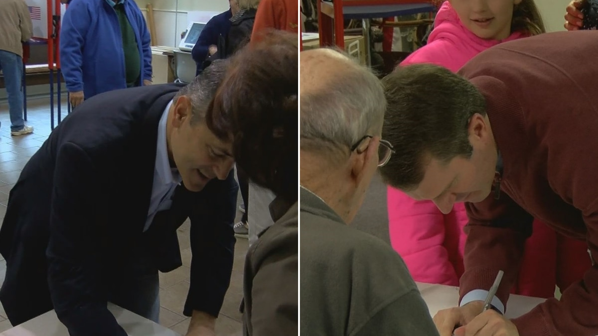 Both Matt Bevin and Andy Beshear cast their votes at their respective Louisville precincts Tuesday morning.