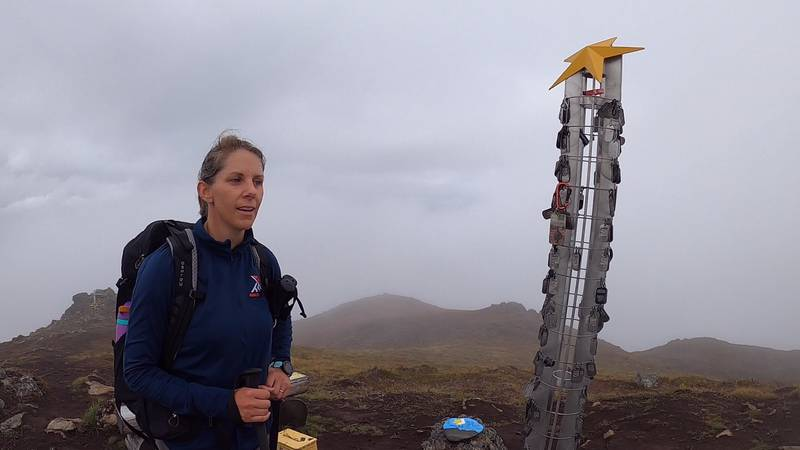 Emily Chambers reaches the top of Gold Star Peak in Alaska.