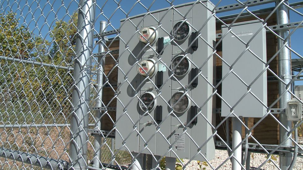 Meters are hooked up at a cell tower in Wayne, WV.