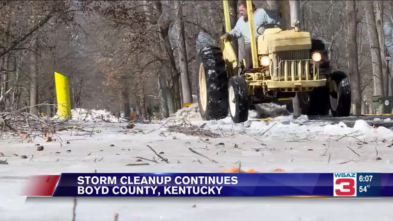 Piles of broken limbs and trees are still parting the roadways as storm cleanup from the winter...