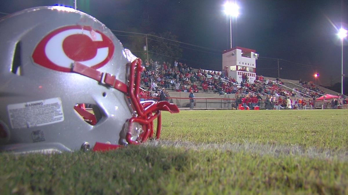 Corbin Redhounds football helmet