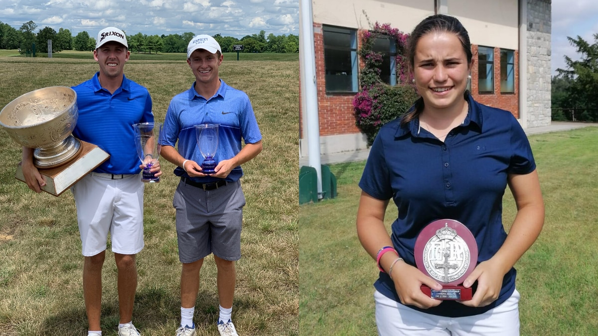 UK men's golfer Jacob Cook (left) wins the Lexington City Golf Championship over teammate Cooper Parks (middle), while UK women's golfer Maria Villanueva Aperribay wins the World Amateur Golf Rankings' Championship of the Principality of Asturias Absolute Women 2020.