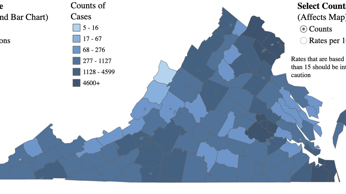 Map of COVID-19 cases in Virginia as of Nov. 14, 2020.