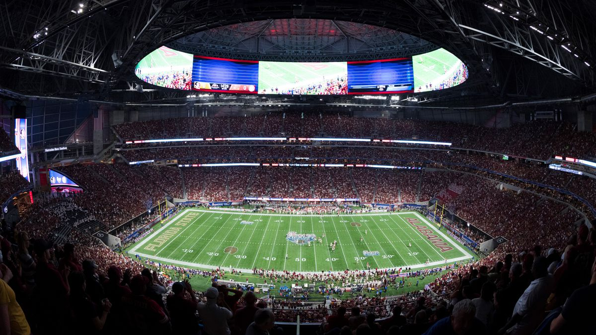 General view of the interior of the Mercedes Benz Stadium from an elevated position at kickoff during the NCAA college football game against the Florida State Seminoles and the Alabama Crimson Tide on Saturday, Sept. 2, 2017 in Atlanta. (Ric Tapia via AP)