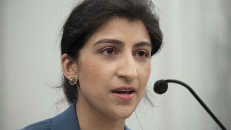 In this April 21, 2021, file photo, Lina Khan, speaks during a Senate Committee on Commerce,...
