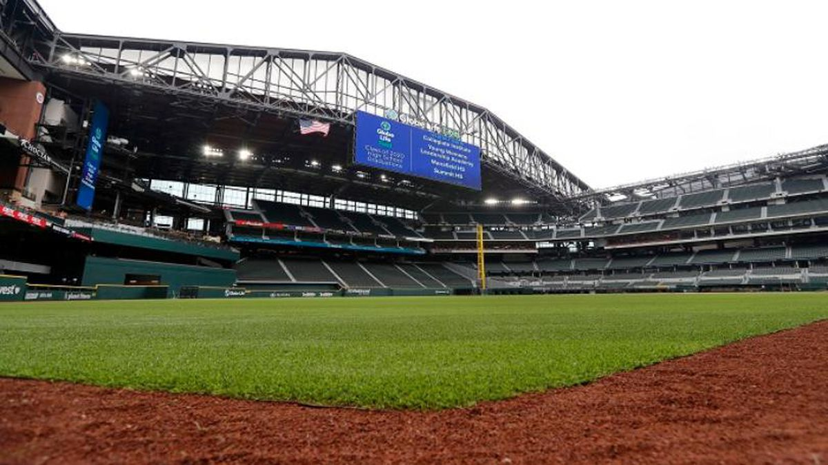 The roof sits open as seen from left field at Globe Life Field, the newly-built home of the Texas Rangers, in Arlington, Texas, Wednesday, May 20, 2020.