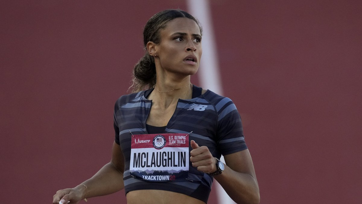 Sydney McLaughlin wins a semi-final in the women's 400-meter hurdles at the U.S. Olympic Track...