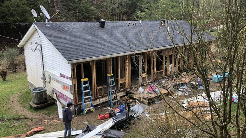 Volunteers have come from as far as California to help with clean up efforts in Beattyville...