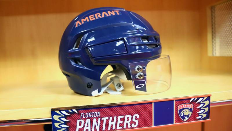 Newly released Florida Panthers home helmets with Amerant branding