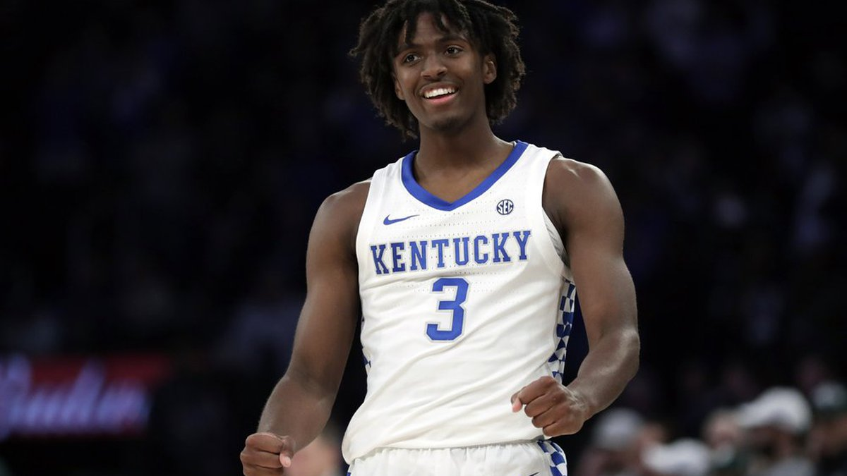 Kentucky guard Tyrese Maxey reacts after making a basket during the second half of an NCAA...