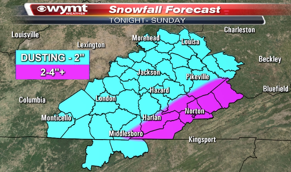 Snowfall Forecast as of 01.15.21