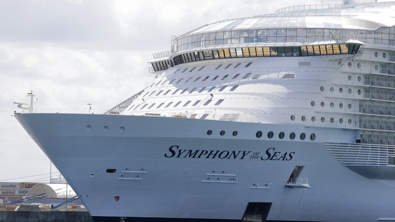 FILE - In this Wednesday, May 20, 2020, file photo, the Symphony of the Seas cruise ship is...
