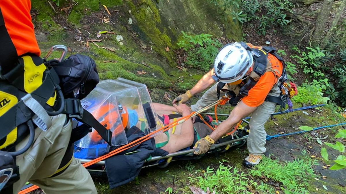 Rescue teams say the person fell into the ravine from an unknown height.