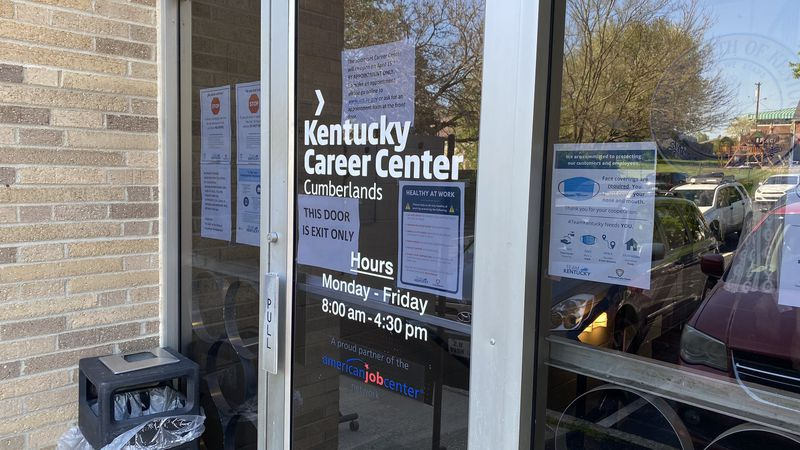 People fill up in-person unemployment appointments all over Kentucky Thursday, including in...