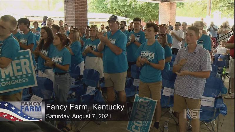 James Comer's supporters take in the speeches at the 141st Fancy Farm picnic.