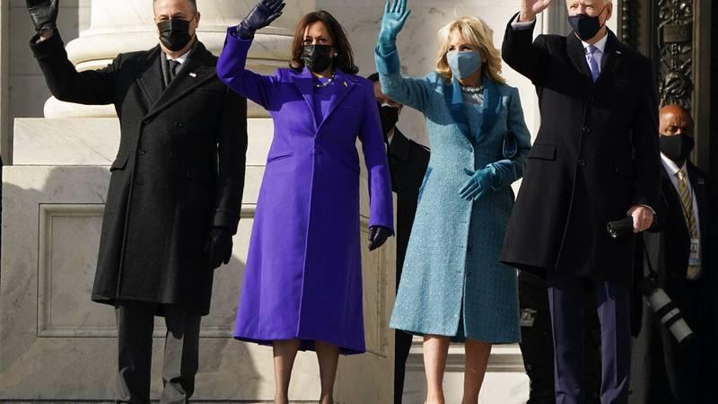 President-elect Joe Biden, his wife Jill Biden and Vice President-elect Kamala Harris and her...