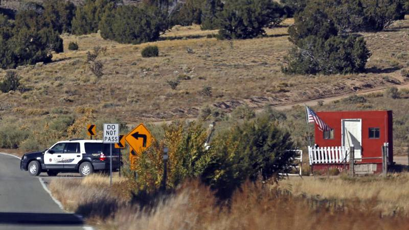 The Santa Fe County Sheriff's Officers respond to the scene of a fatal accidental shooting at a...