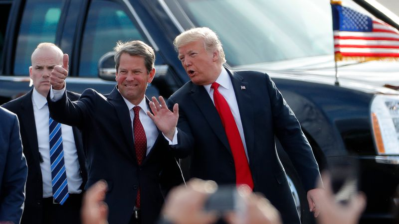 In this Nov. 4, 2018, file photo, then-Georgia Republican gubernatorial candidate Brian Kemp,...