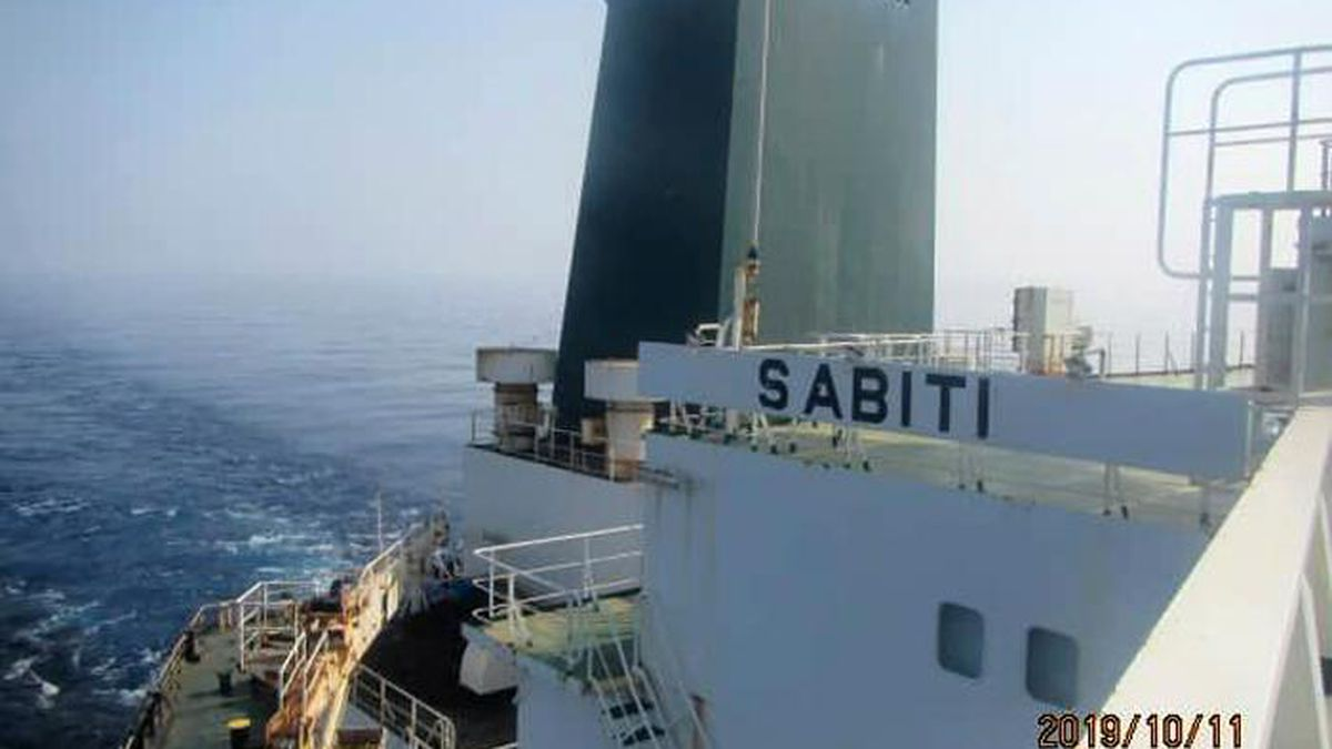 This photo released by the official news agency of the Iranian Oil Ministry, SHANA, shows Iranian oil tanker Sabiti traveling through the Red Sea Friday, Oct. 11, 2019. Two missiles struck the Iranian tanker Sabiti traveling through the Red Sea off the coast of Saudi Arabia on Friday, Iranian officials said, the latest incident in the region amid months of heightened tensions between Tehran and the U.S. (SHANA via AP)