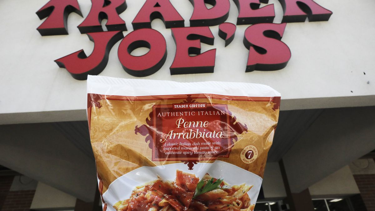 Trader Giotto's Penne Arrabbiata is shown in from of Trader Joe's Friday, July 31, 2020, in Salt Lake City. The popular grocery chain Trader Joe's says it won't be changing ethnic-sounding labels on its line of Mexican, Chinese and other international foods, adding they are not racist. Earlier this month the company said it was looking at changing some labels. But now it says it has no problem with ethnic-food labels like Trader Jose's, Trader Ming's and Arabian Joe. Other Trader Joe's names cited include Arabian Joe for Middle Eastern food, Trader Giotto's for Italian and Trader Joe San for Japanese cuisine.