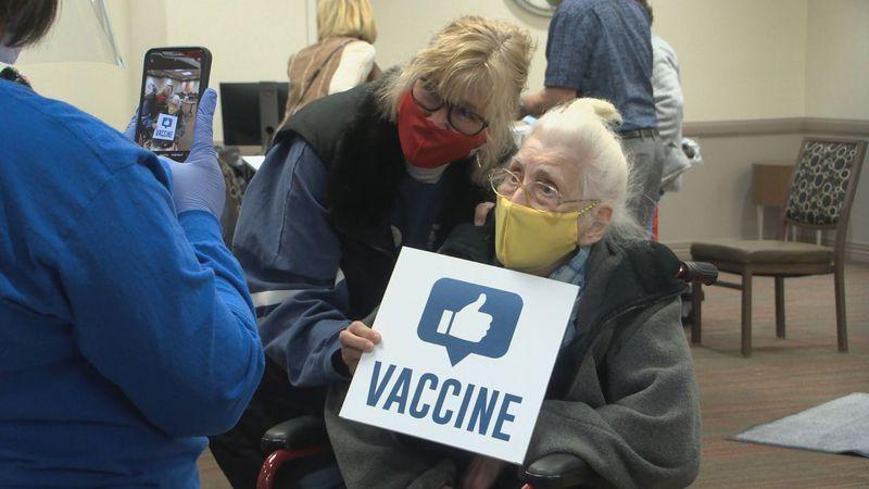 Kathryn Gilbert, 105, receives COVID-19 vaccine.