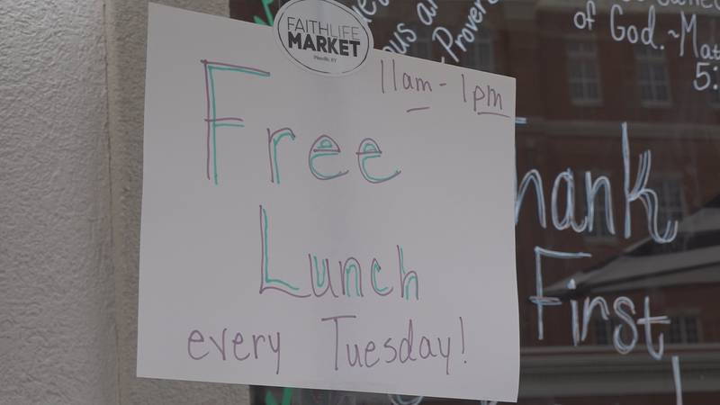 Free lunch is on the menu at FaithLife Market every Tuesday, filling the city's weekly lunch...
