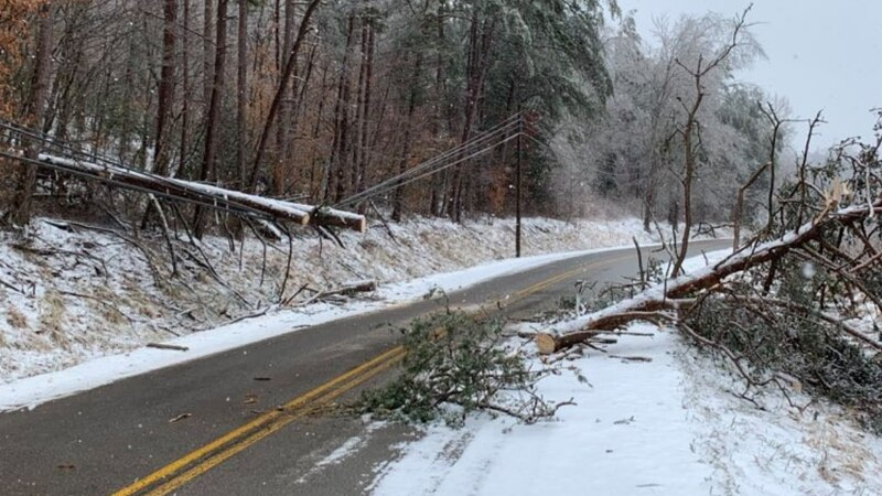 A tree falls on the road in Johnson County following an ice storm Monday night into Tuesday...