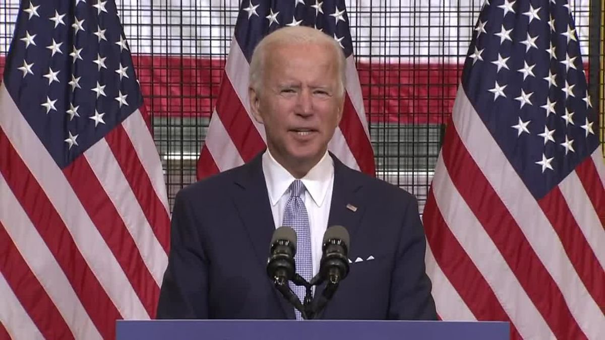 Democratic presidential nominee Joe Biden spoke Monday at an event in Pittsburgh.