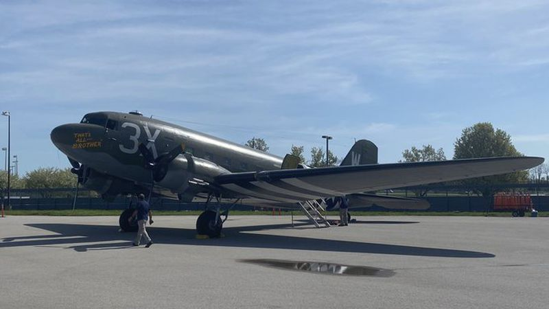 """This weekend the """"That's All Brother"""" C-47 airplane will be at the airport for tours and rides."""